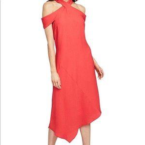 Rachael Roy cold shoulder asymmetrical midi dress